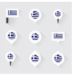 greece flag and pins for infographic and map vector image vector image