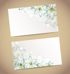 Two retro wedding cards with flowers vector image