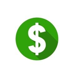 Dollar symbol flat design style circle vector image
