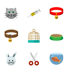 flat icon pets set of bunny fishbowl vaccine and vector image
