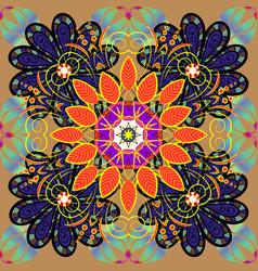 gentle spring floral on beige black and violet vector image vector image