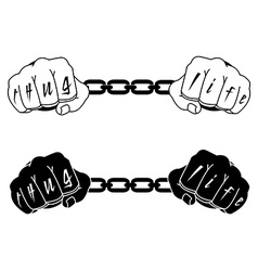 Male hands in steel handcuffs with Thug Life vector image vector image