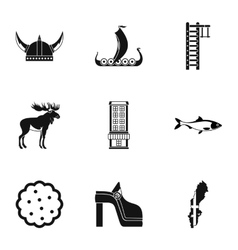 Sweden icons set simple style vector image vector image