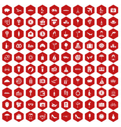 100 honeymoon icons hexagon red vector