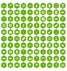 100 meat icons hexagon green vector