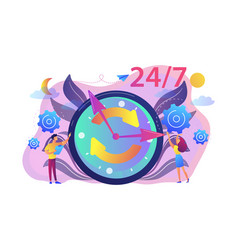 24 for 7 service concept vector image