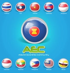 3d flag asean economic community vector