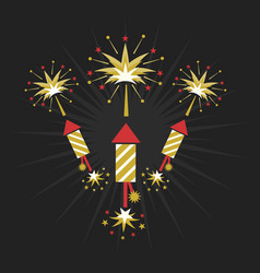 abstract golden and red rocket firework on black vector image
