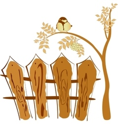 Autumn drawing bird sitting on a tree Rowan vector image