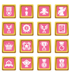 awards medals cups icons set pink square vector image