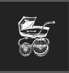 baby carriage on black vector image