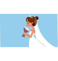 beautiful bride holding flower bouquet wedding ill vector image