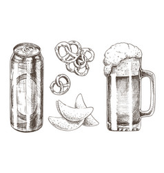Beer set and snack collection vector
