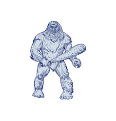 Bigfoot holding club standing drawing vector