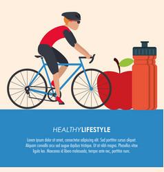 bike racing male cartoon healthy lifestyle icon vector image
