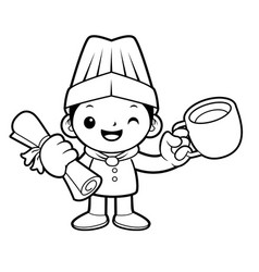 black and white head chef mascot graduation vector image vector image