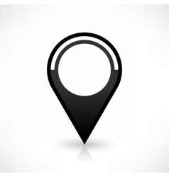 Black map pin icon flat round location sign vector image