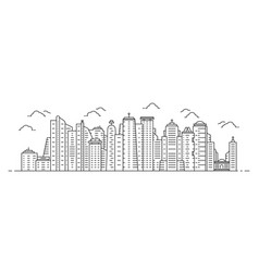 black thin line cityscape with skyscrapers vector image