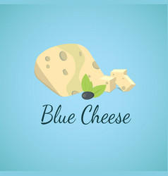 Blue cheese blue molds on sliced cheese vector