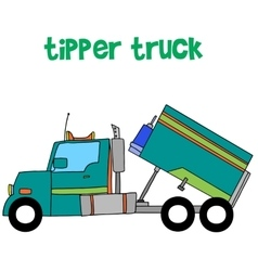 Blue tipper truck art vector
