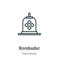 Borobudur outline icon thin line black vector
