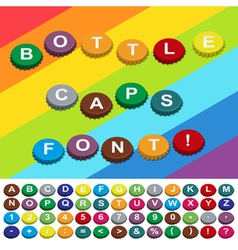 Bottle caps font vector
