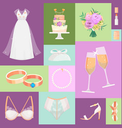 bridal accessories pattern vector image