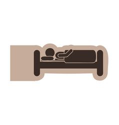 brown emblem sticker bed and person sleeping vector image vector image