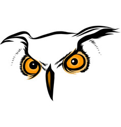 brown silhouette of an owl on a white vector image