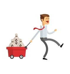 Business man with money icon vector
