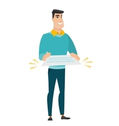 Businessman holding a contract vector