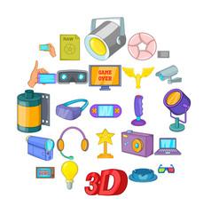 camera film icons set cartoon style vector image