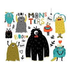 cartoon furry monsters vector image