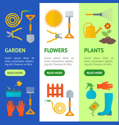 cartoon gardening equipment banner vecrtical set vector image