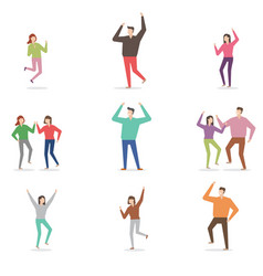 cheerful characters various poses vector image