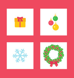 christmas wreath and present box with bow ribbon vector image