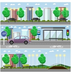 City landscape with road and park concept vector