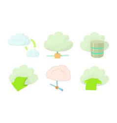cloud data icon set cartoon style vector image