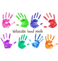 collection watercolor hand print vector image