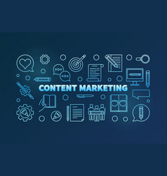 content marketing blue horizontal banner in vector image