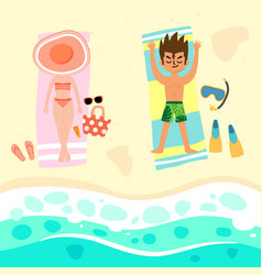 couple relaxing on beach vector image
