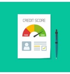 credit score document paper sheet chart vector image
