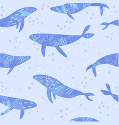 cute blue whales vector image