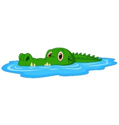 Cute crocodile cartoon swimming vector