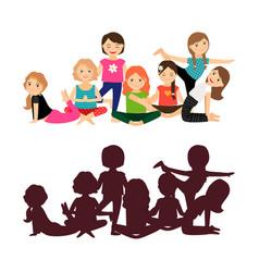 cute girls yoga training vector image