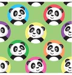 cute little panda seamless pattern vector image