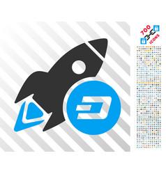 Dash rocket flat icon with bonus vector
