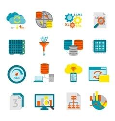 Database Analytics Flat Icons Set vector