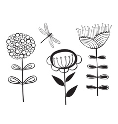 Decorative flower and dragonfly vector