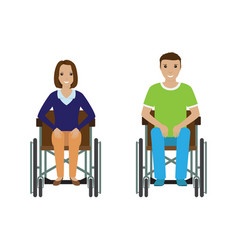 Disability people man and woman in wheelchair vector